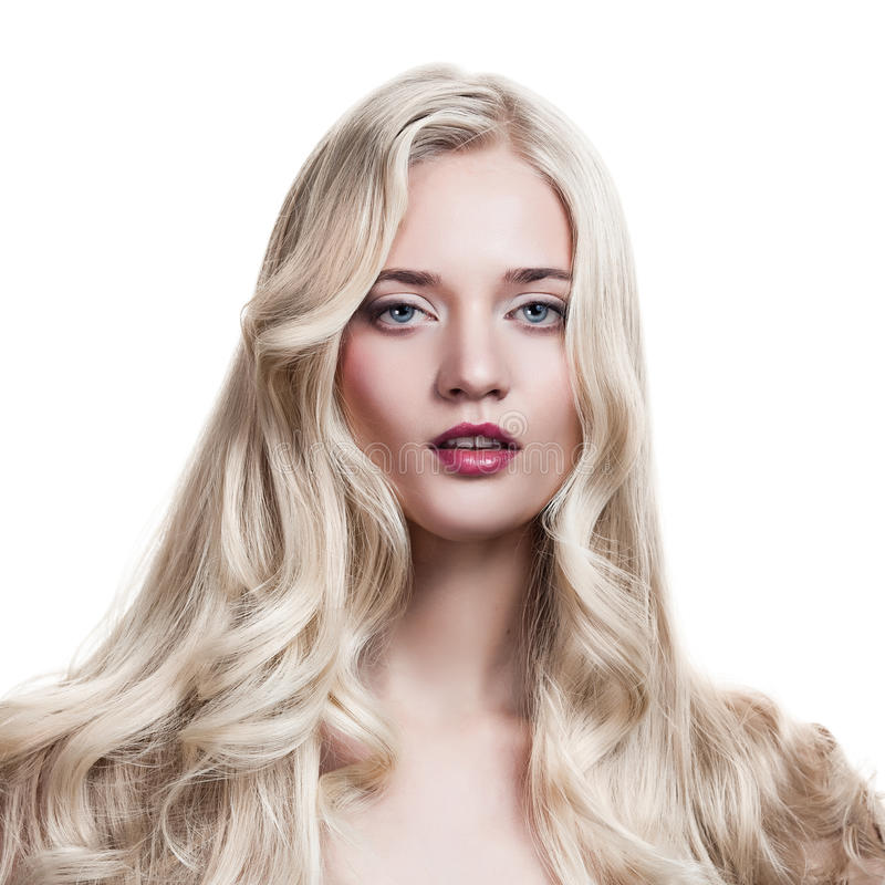 Blonde Girl Healthy Long Curly Hair Stock Image - Image 23541381-2949