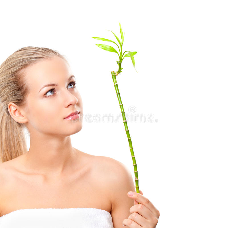 Download Blonde Girl Holding The Bamboo Stock Image - Image: 25510037