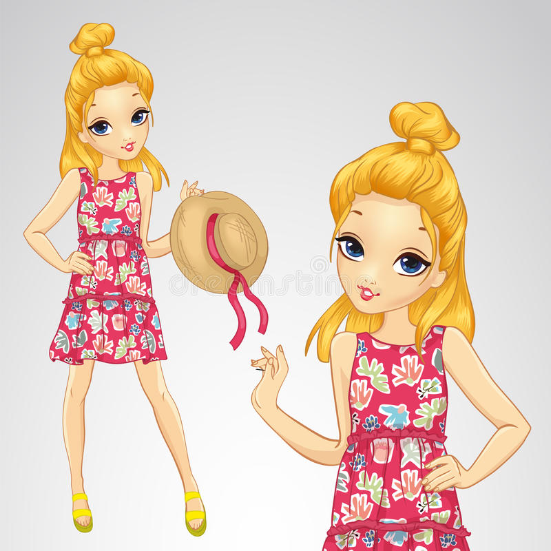 Blonde Girl Holds Straw Hat. Vector illustration of girl in a dress with flowers holds a straw hat stock illustration
