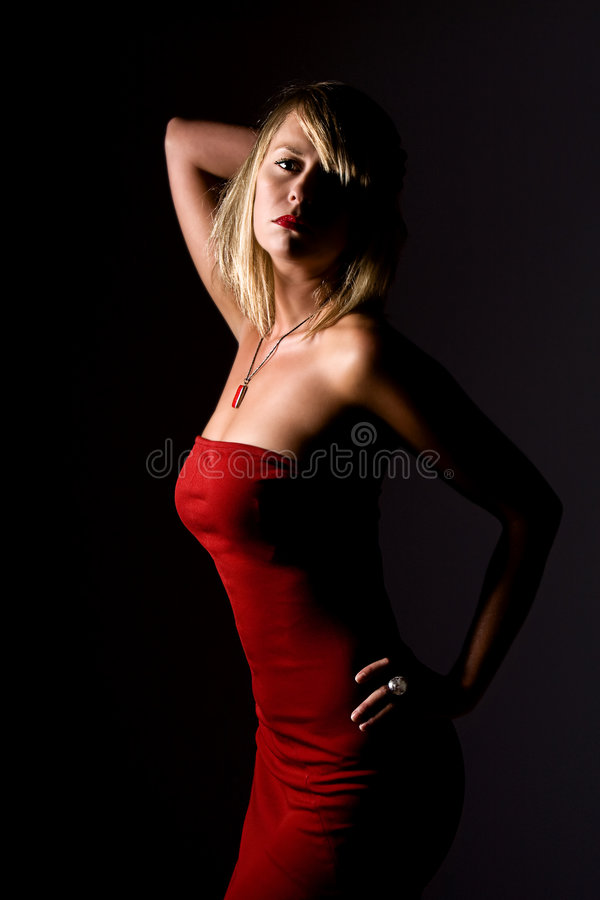 Free Blonde Girl In Strapless Red Dress Royalty Free Stock Photo - 6928595