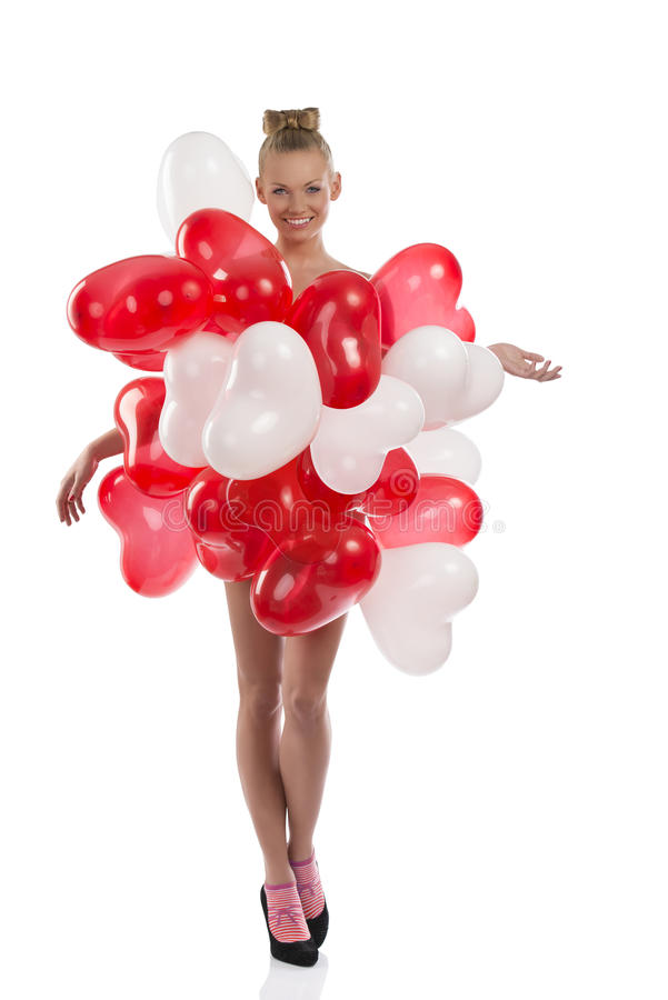 Download Blonde Girl With Many Balloons On Her Body Stock Image - Image: 27169389