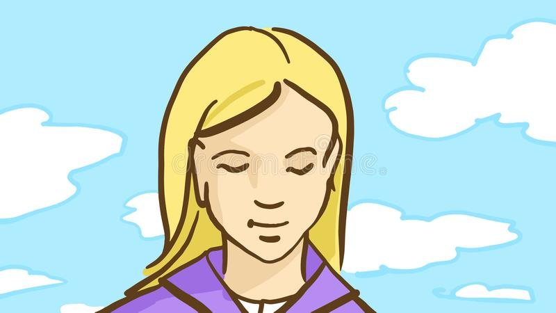 Cartoon blonde girl is outdoor in spring day with blue sky and white clouds royalty free illustration