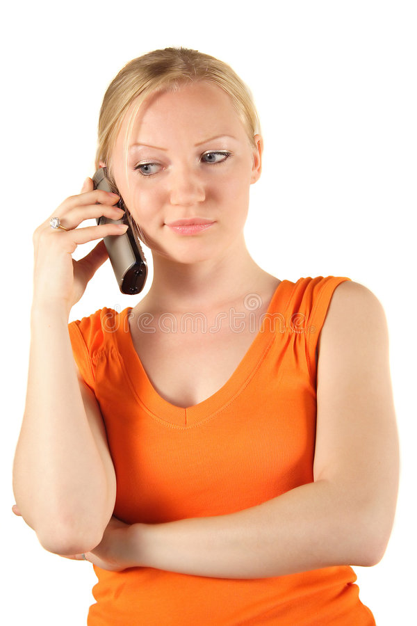 Blonde girl phoning stock photography