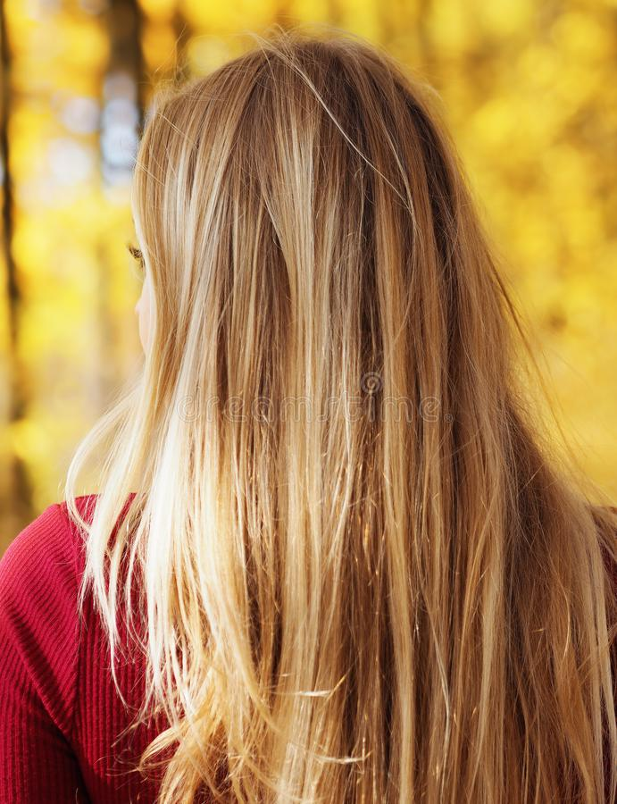 Blonde girl portrait at the autumn forest looking back view from back royalty free stock image