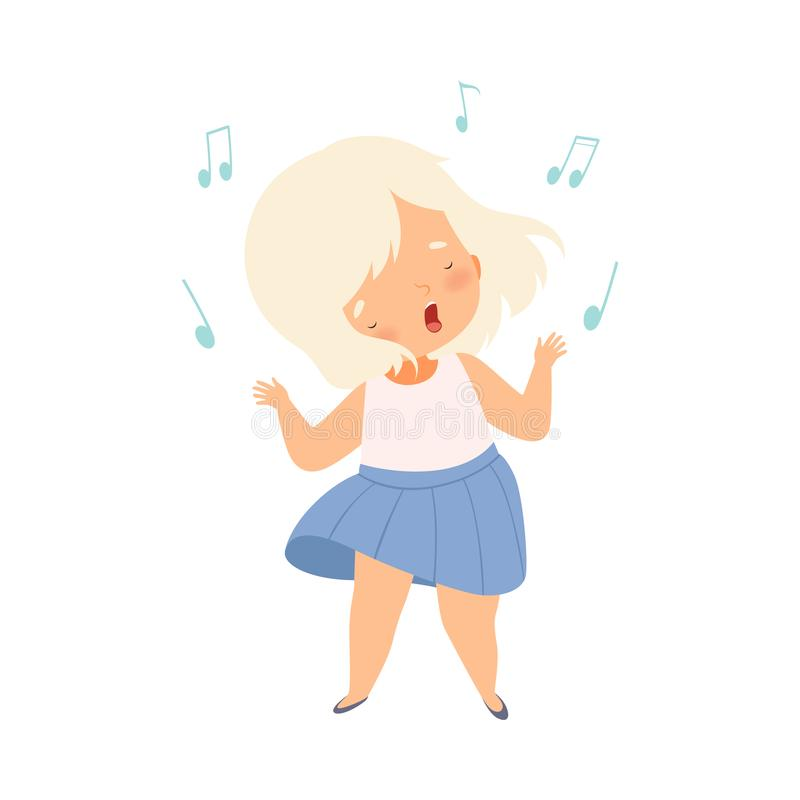 Blonde Girl Singing and Dancing, Adorable Kid With Fun and Enjoing Listening to Music Cartoon Vector Illustration illustration de vecteur