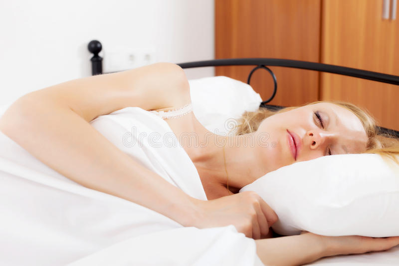 Download Blonde  Girl Sleeping On White Stock Photo - Image of relax, lying: 32859448