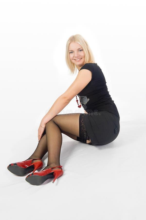 Blonde girl in stockings