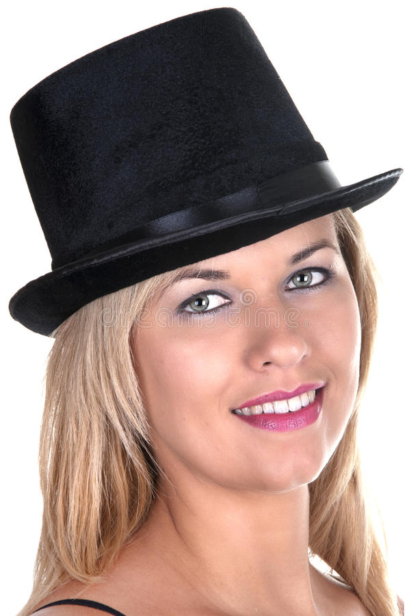 Download Blonde girl with top-hat stock image. Image of glamour - 24147279