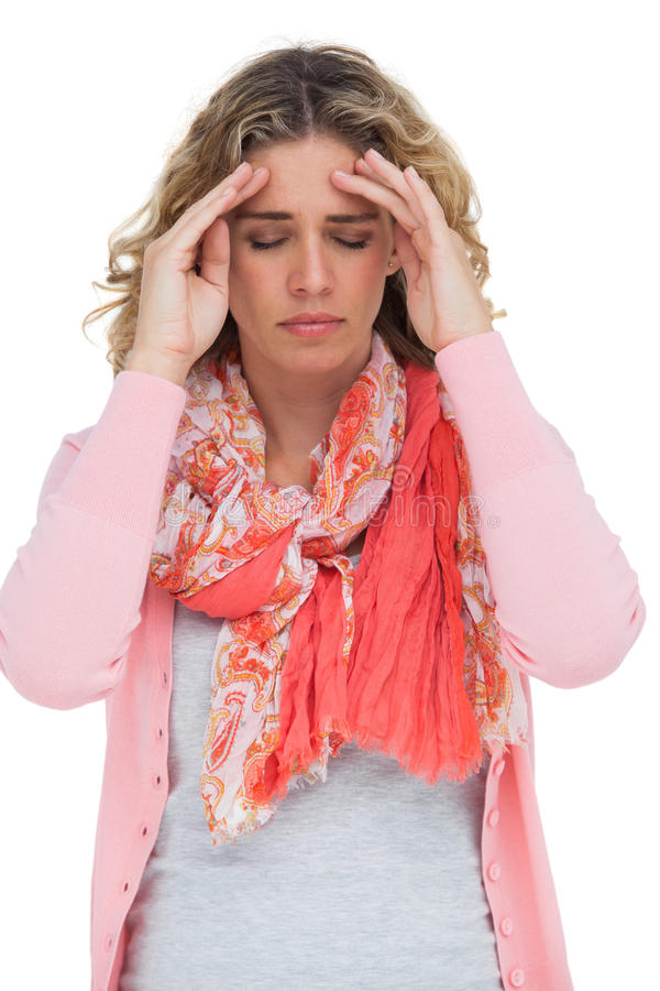 Blonde Girl Touching Her Temples Because Of A Headache Stock Images