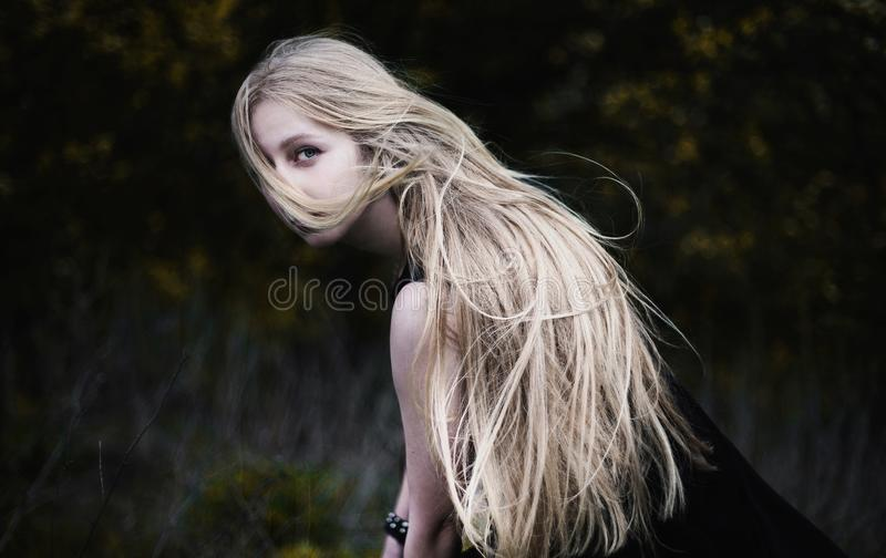 Blonde girl with very long hair on dark fone royalty free stock photos