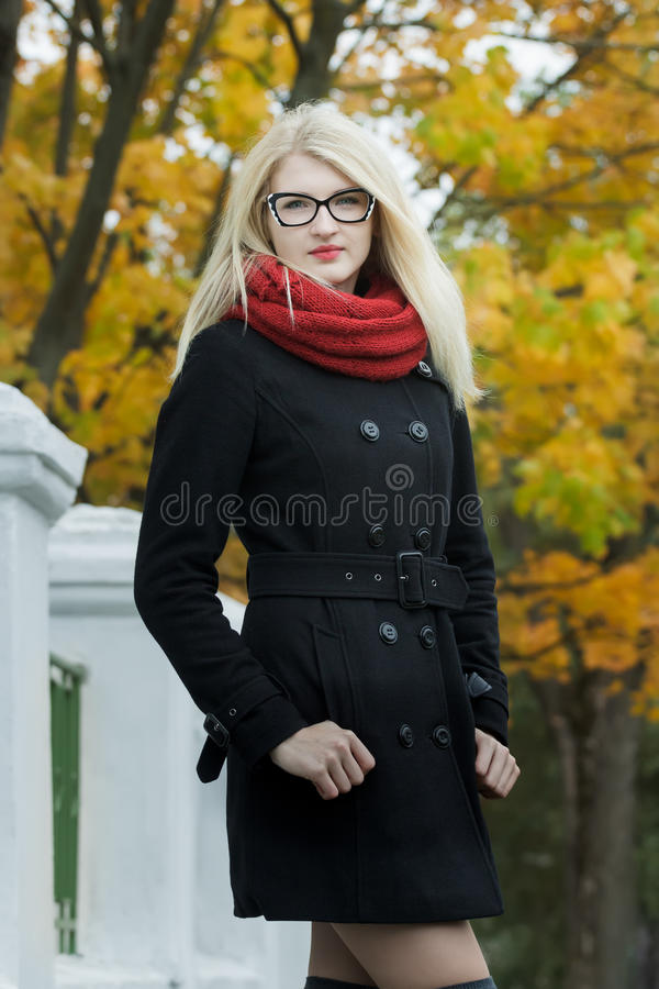 Blonde Girl Wearing Black And White Cat Eye Stock Photo - Image Of Buttons, September -7250