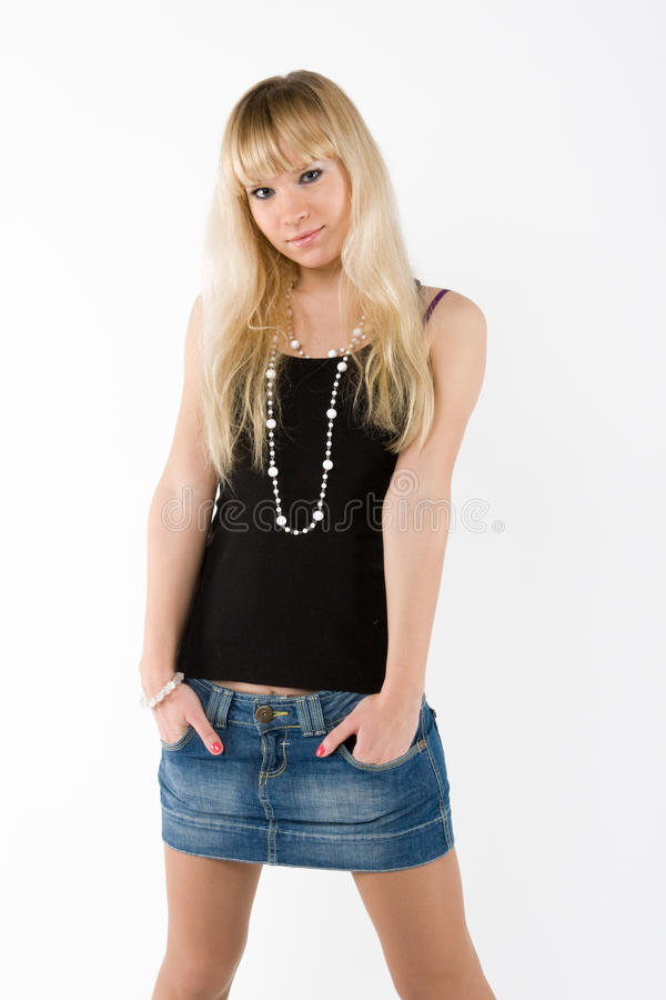 Blonde girl on white royalty free stock photo