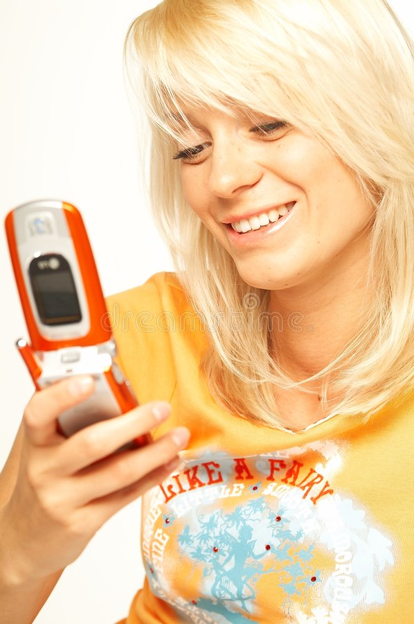 Free Blonde Girl With Cell Phone Royalty Free Stock Photo - 489055