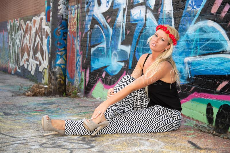 Blonde girl woman stock photos