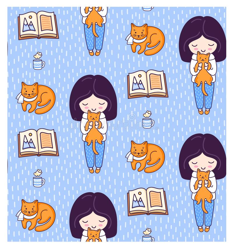 Blonde girls, books, ginger cats, kittens and tea cup. Vector illustration for kids, children, babies. royalty free illustration