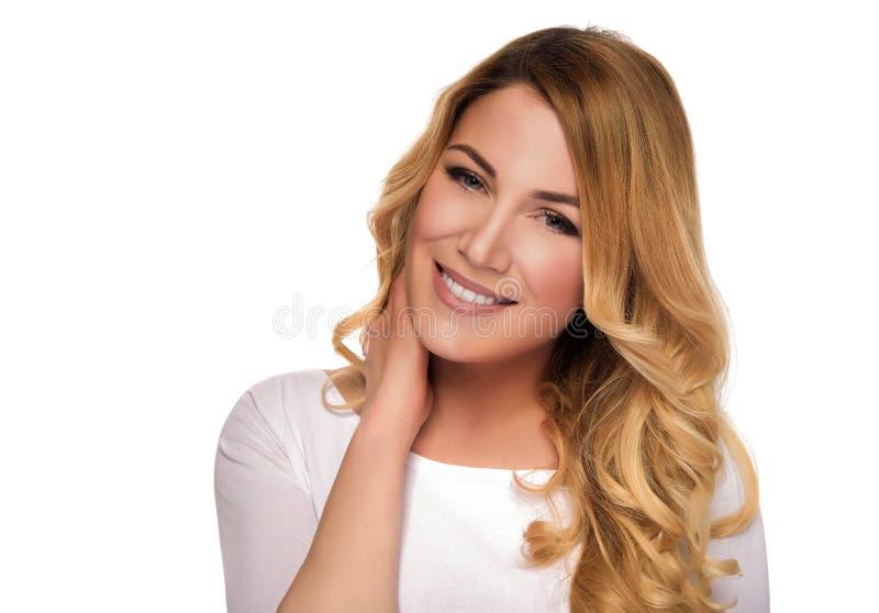 Blonde hair model woman. Female portrait. Studio shot. stock photo