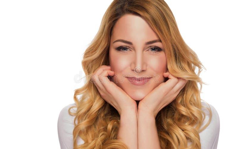 Blonde hair model woman. Female portrait. Studio shot. Blonde hair model woman. Female portrait on white background. Studio shot royalty free stock image