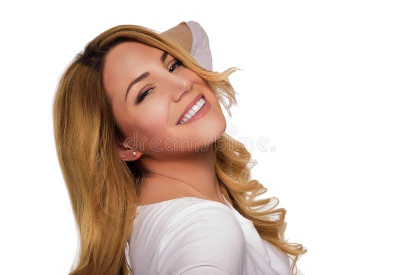 Blonde hair model woman. Female portrait. Studio shot. Blonde hair model woman. Female portrait on white background. Studio shot royalty free stock photo