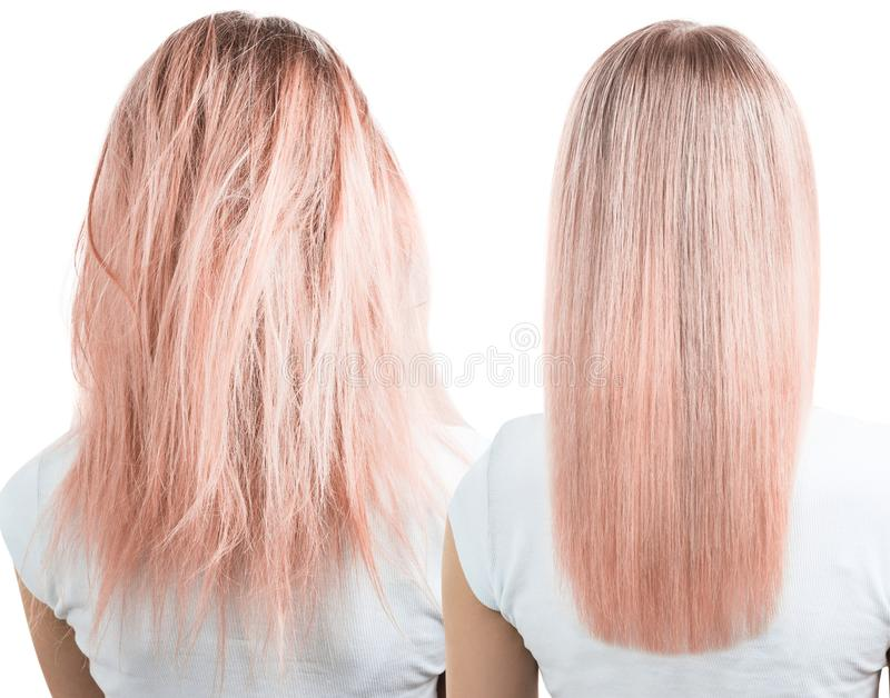 Blonde hair before and after treatment. royalty free stock images