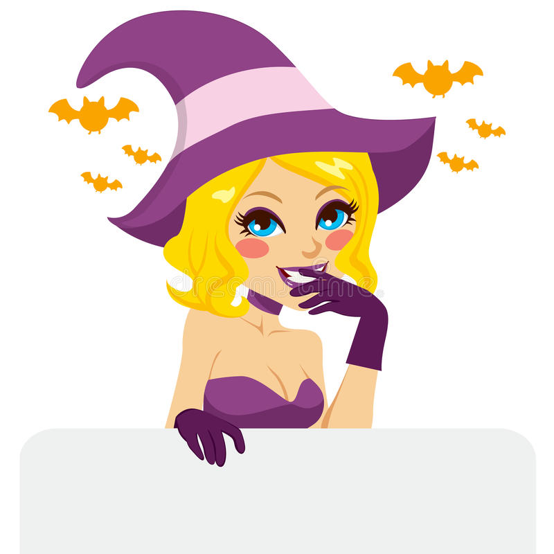 Blonde Halloween Witch. Naughty blonde woman with purple and pink Halloween witch costume smiling holding an empty billboard royalty free illustration