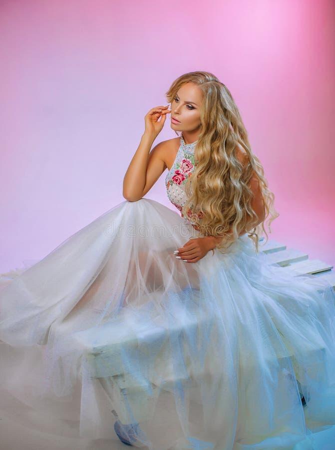 Blonde hermoso con el pelo largo imagen de archivo