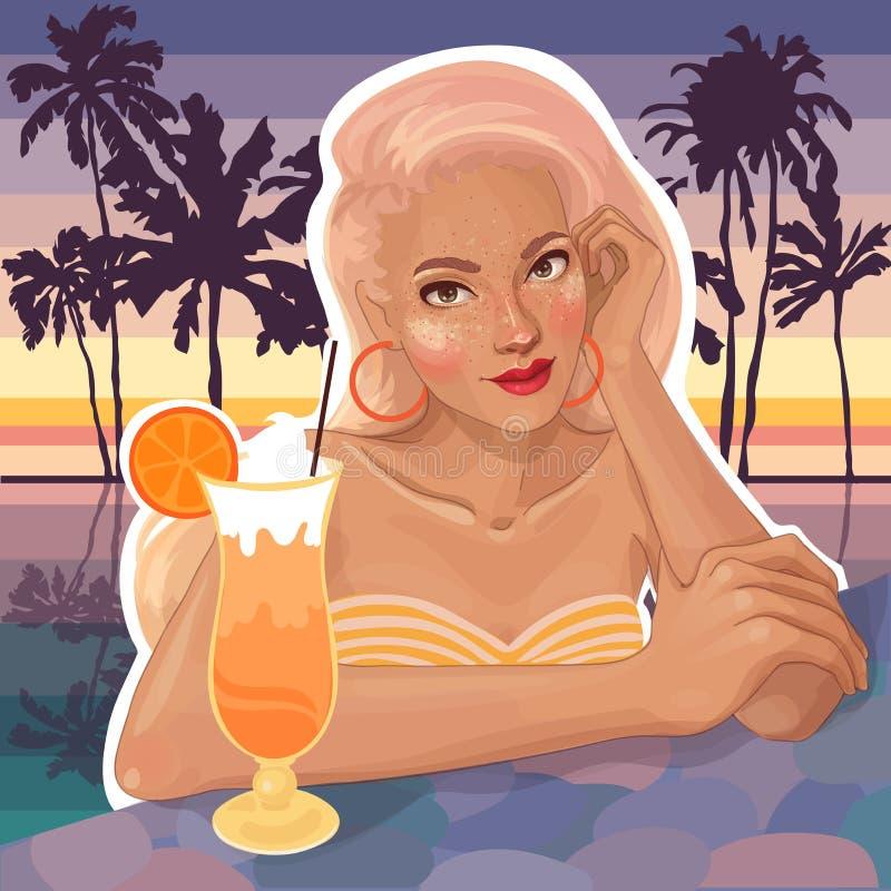 Blonde hermoso en la piscina ilustración del vector