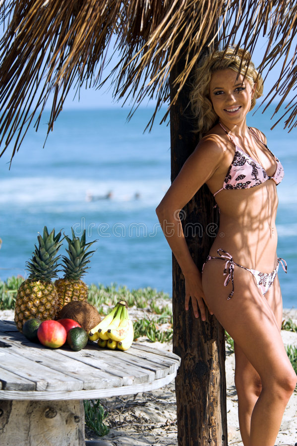 Blonde het Strand van de bikini stock foto's