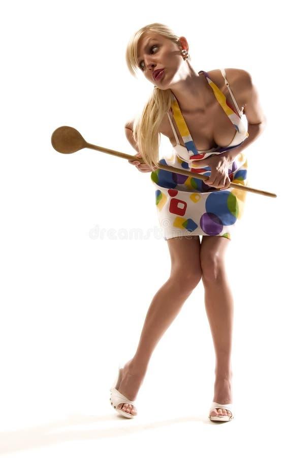 Blonde huisvrouw royalty-vrije stock afbeelding