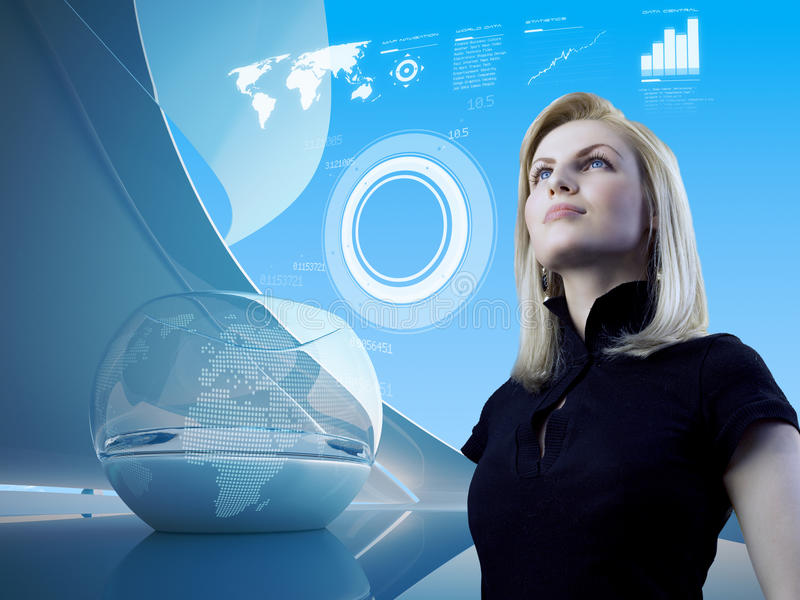 Blonde with interface in future interior stock photo