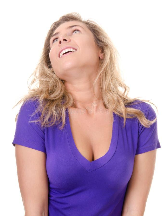 Blonde junge Frau, Euphorie lizenzfreie stockfotografie