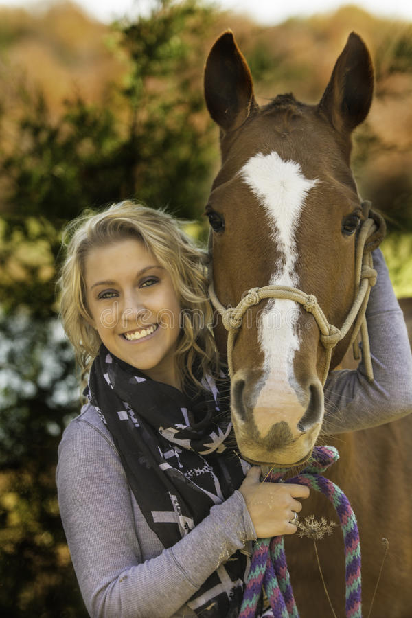 Download Woman and horse stock image. Image of equestrian, halter - 46785347