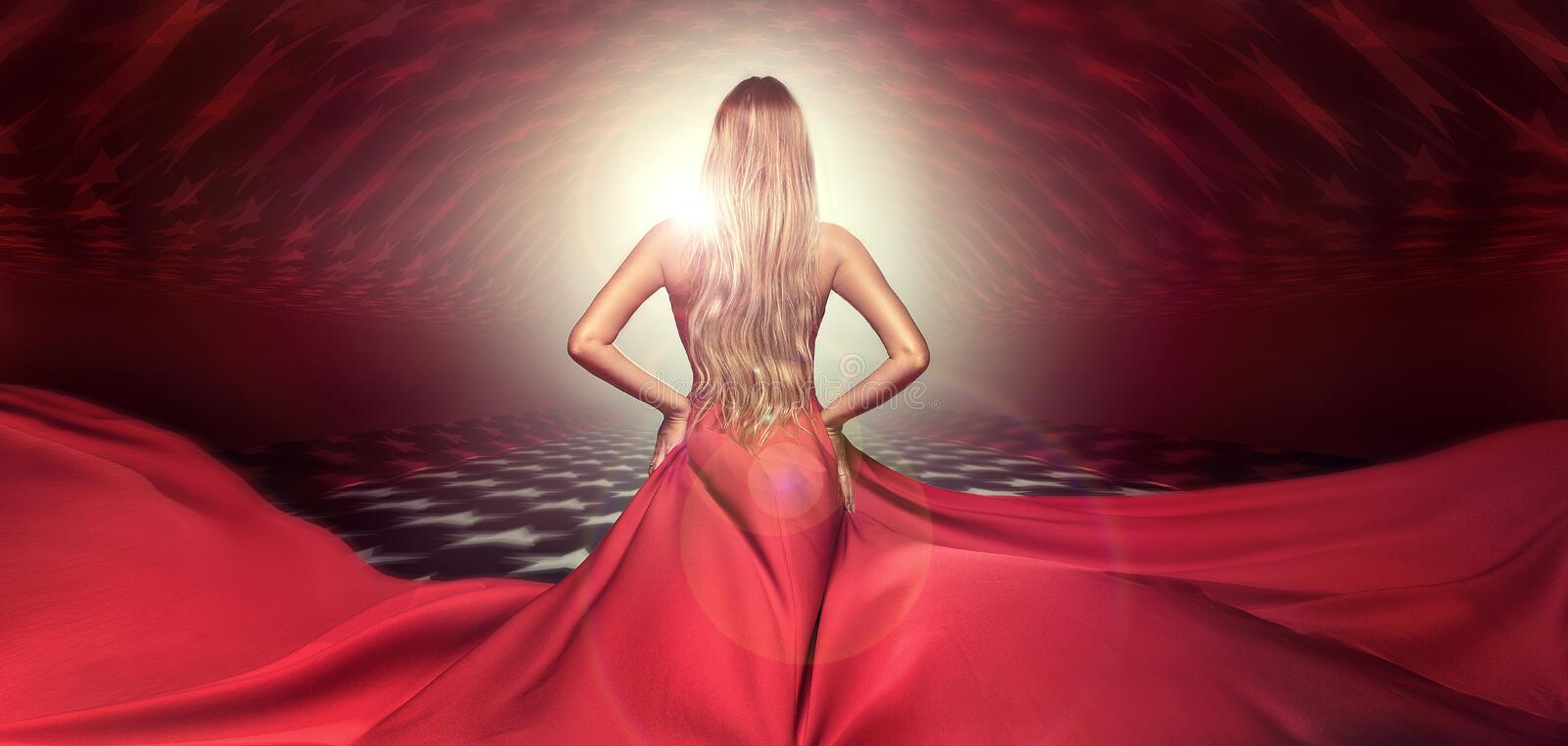Blonde lady in red elegant maxi dress. stock photo