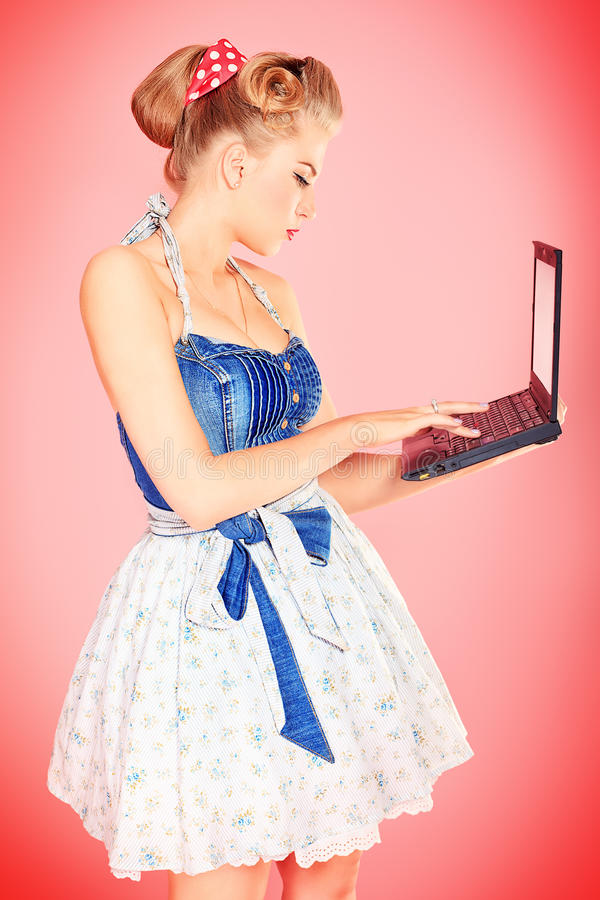 Download Blonde with laptop stock photo. Image of lovely, funny - 26415024