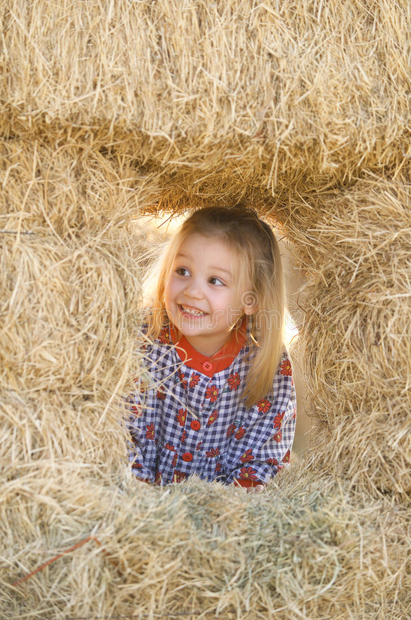 Free Blonde Little Girl In Haystack Royalty Free Stock Image - 7827356