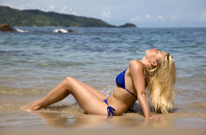 Download The Blonde With Long Flowing Hair Stock Photo - Image of vacation, foam: 24782858