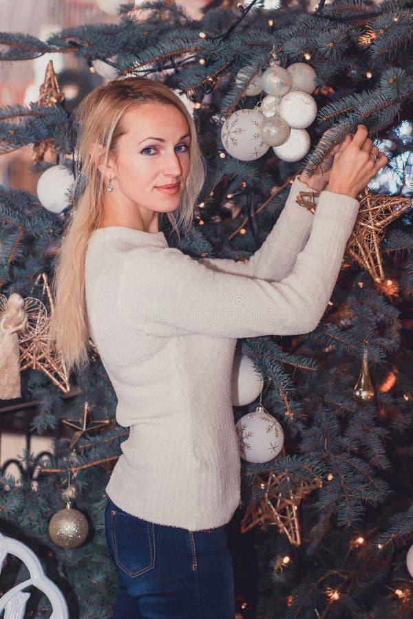 Long hair girl celebration Christmas. Blonde long hair girl celebration Christmas stock images