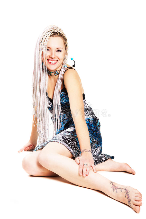 Download Blonde with long pigtails stock image. Image of model - 13156353