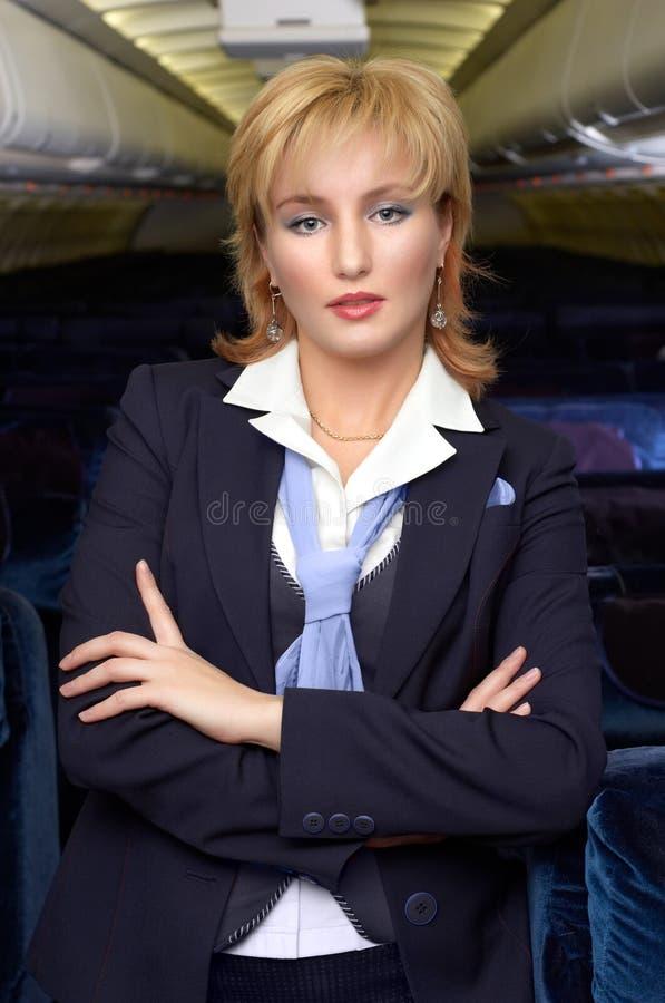 Blonde Lufthosteß stockbild