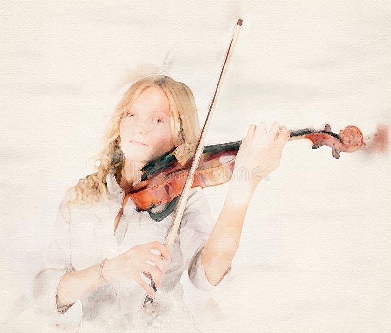 Blonde M?dchenspiele auf der Violine lizenzfreie abbildung