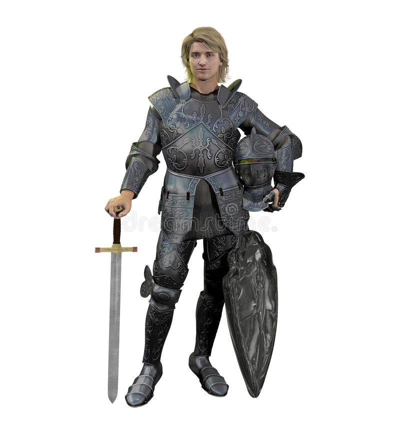 Blonde Medieval Knight in Battle Armour. Amazing realistic 3D render of a blonde medieval knight in full battle armour with a broadsword and a shield stock illustration