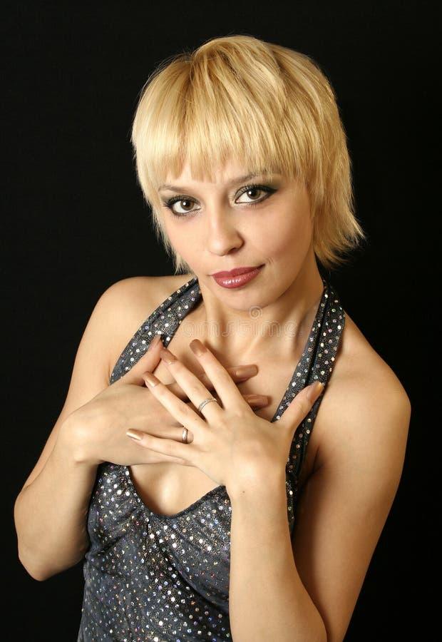 Blonde meisje van de glimlach royalty-vrije stock fotografie