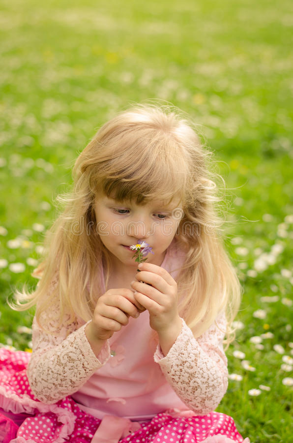 Download Blonde Meisjes Ruikende Bloemen Stock Afbeelding - Afbeelding bestaande uit groen, meisje: 54085127