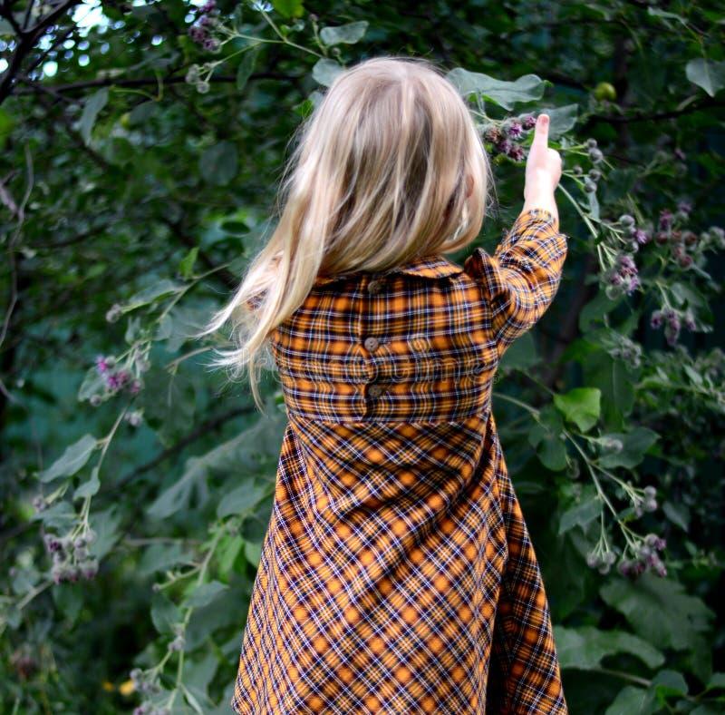 Blonde meisjesgangen in de tuin! royalty-vrije stock foto's
