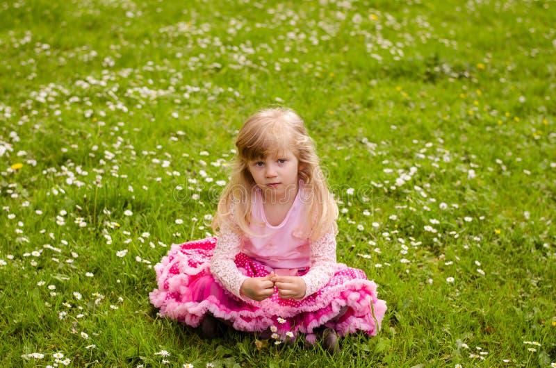 Download Blonde Meisjeszitting In Weide Stock Afbeelding - Afbeelding bestaande uit spring, openlucht: 54085135