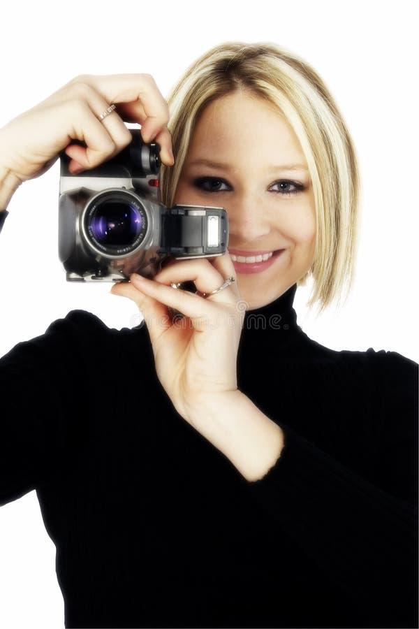 Blonde met Camera stock afbeelding