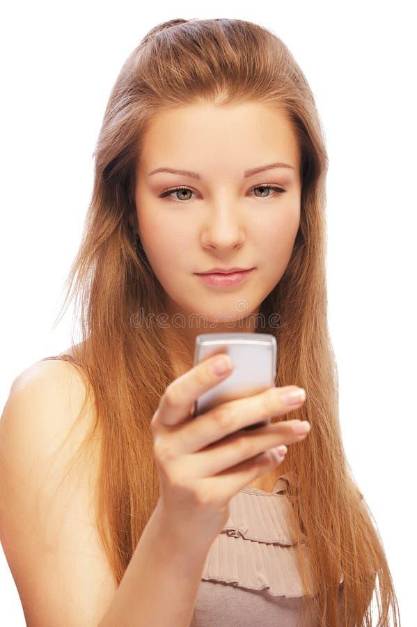 Blonde met cellphone royalty-vrije stock foto