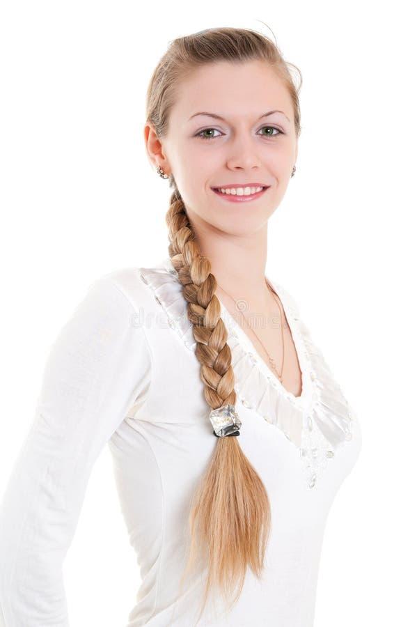 Blonde met grote vlecht royalty-vrije stock fotografie
