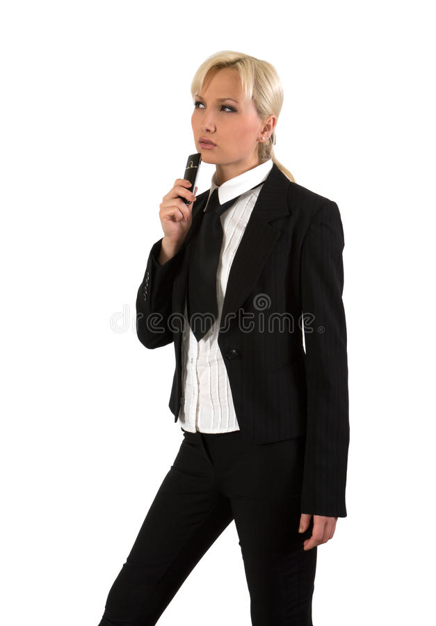 Blonde with mobile. stock photo