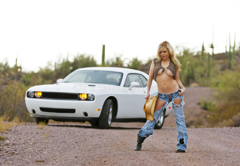 Blonde Model in Desert stock photo