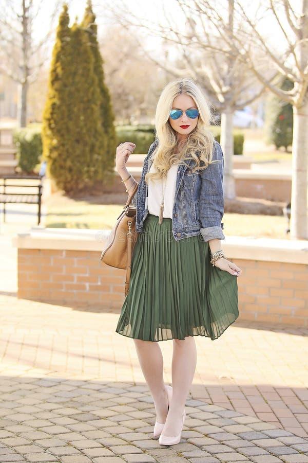 Blonde model in park stock images